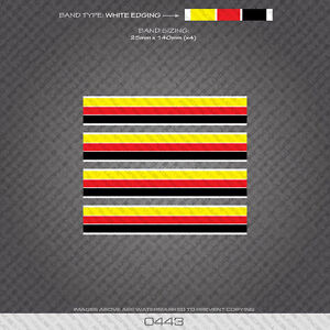 0443 Germany Separation Stripes Bands - Bicycle Decals Stickers - Gold Edges