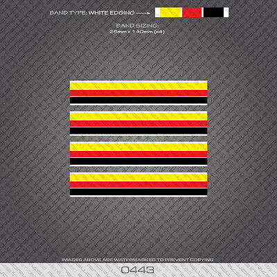 0454 French Separation Stripes Bands Gold Edges Bicycle Decals Stickers