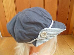 MONSOON ACCESSORIZE GREY BLUE TICKING TURN UP PEAKED HAT CAP BAKER BOY VINTAGE