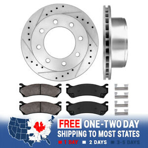 Rear Drill Slotted Brake Rotor /& Ceramic Pads For Chevy Suburban 2500 2008-2011
