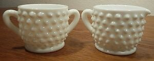 Fenton-Mini-Children-039-s-Milk-Glass-Hobnail-2-034-Creamer-And-Sugar-Bowl