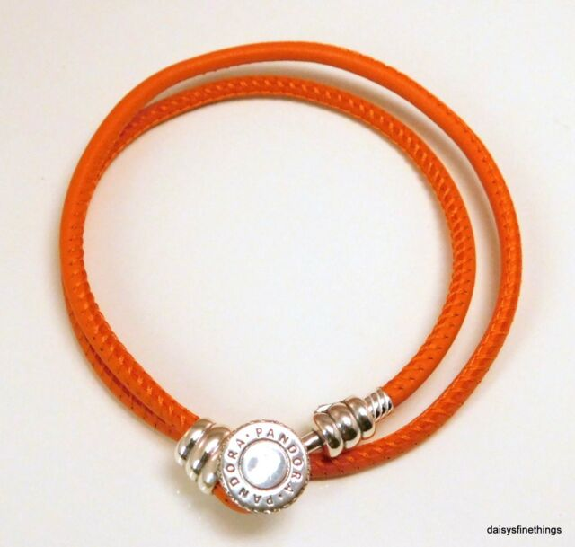 edade81a9 NWT AUTHENTIC PANDORA SPICY ORANGE DOUBLE LEATHER, CZ #597194CSO MULTIPLE  SIZES