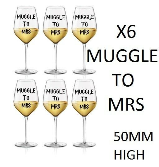Muggle to Mrs Stickers wine glass sticker vinyl, Hen Do , Harry Potter diy Hen
