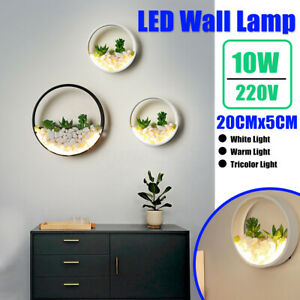 Nordic-LED-Wall-Lamp-Light-Bedroom-Bedside-Indoor-Realistic-Artificial-Plant