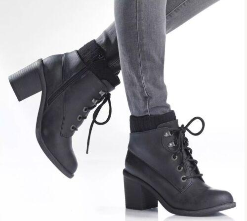 Blowfish mystère noir talon bloc femme style militaire bottes noir uk 3,8 boot
