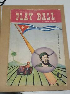 RARE-1959-Cuban-Baseball-Program-Havana-Sugar-Kings-with-Fidel-Castro-on-Cover