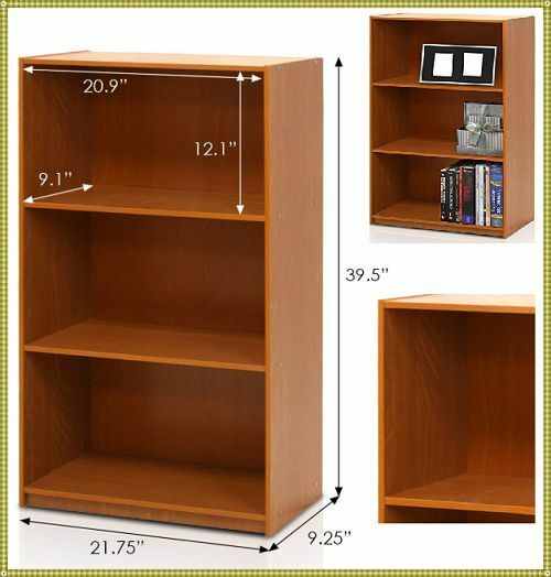 Home Office Wooden Bookcase Storage Bookshelf 3 Shelves Small Low Kids Children