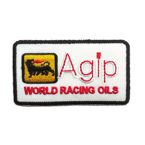 Agip Logo Racing Sponsor 7,5x4,4 Application badges white Iron on patches