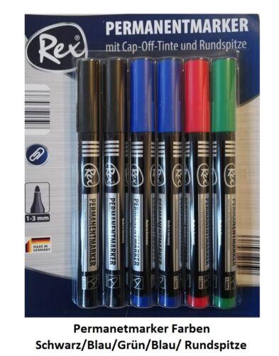 Rex Permanetmarker 4 Farben CAP-Off-Tinte Austrocknungsschutz Rundspitze 6 Stk