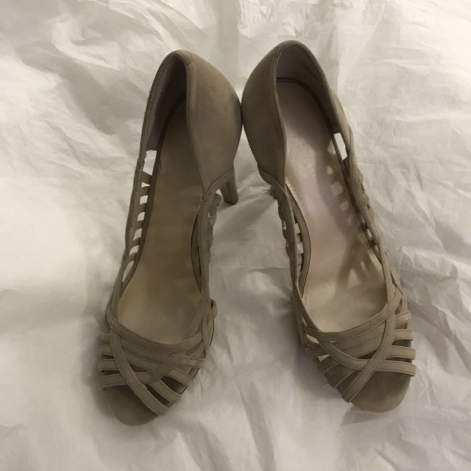 Nine West Speed Tan Pumps 9M Womens Speed West Up Beige Leather Suede Peep Toe Heels d84749