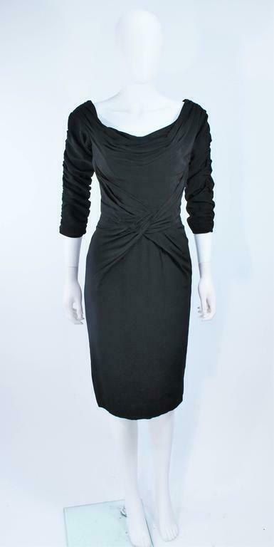 CEIL CHAPMAN Black Gathered Cocktail Dress Size 4… - image 2