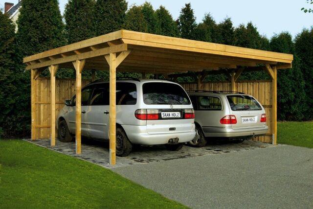 Dacheindeckung KVH Holz Carport 600x500 cm 6x5 m Doppelcarport Flachdach inkl