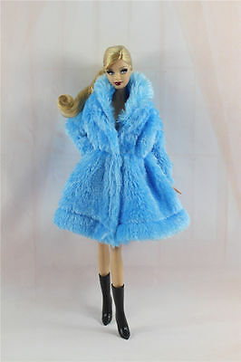 Blue Lovely Fashion Winter Coats Clothes/Outfit+Boots For Barbie Doll U006