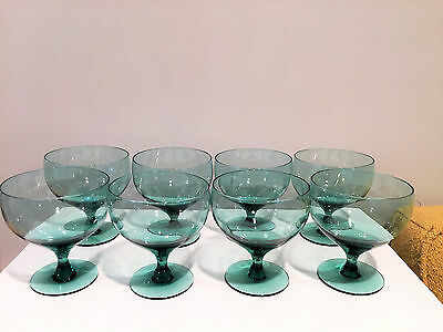 8 Russel Wright Old Morgantown Glass American Modern Seafoam Water Goblets