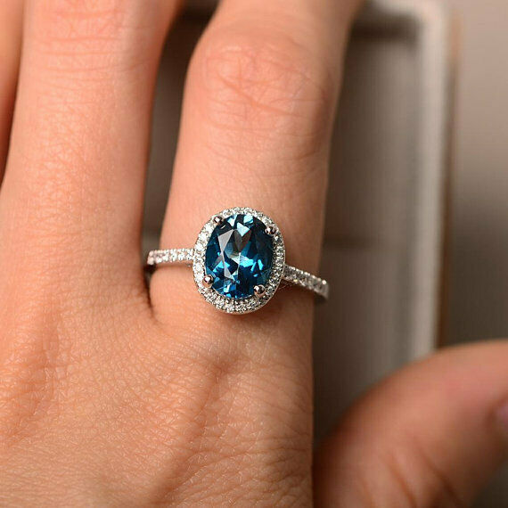 2.30 Carat Genuine Topaz Ring 14K Solid White gold Real Diamond Size 6 7 7.5 8