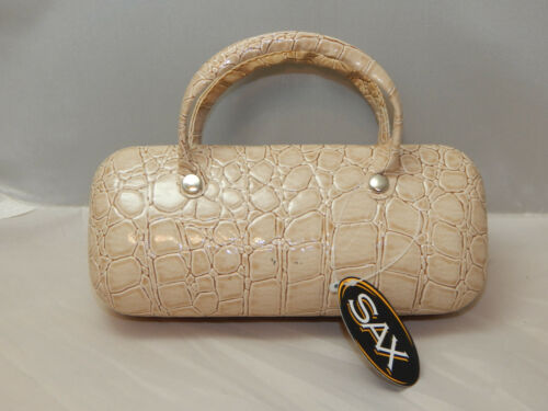 NEW SAX EYE GLASS CASE Faux Beige Snakeskin  Very Stylish-Felt Interior