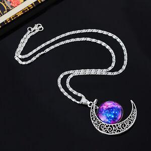 New-1-Mode-Damen-Halskette-Filigran-Mond-Fuchsie-Blau-Galaxy-Anhanger-48-5cm
