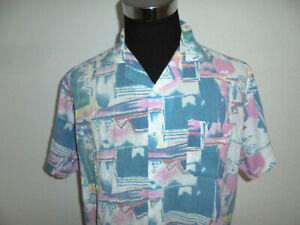 SUNLIGHT Hemd crazy pattern Kurzarm 80s Oberhemd Freizeithemd vintage 80er L