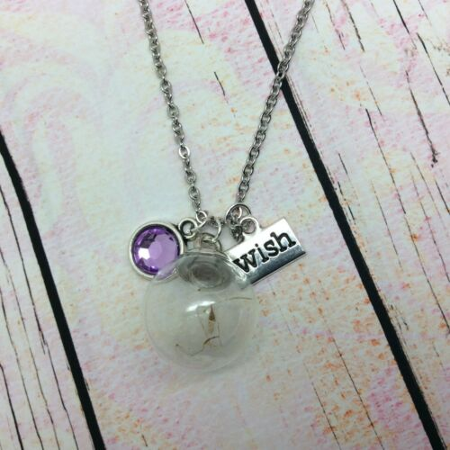 Dandelion Wish Seed necklace silver plated chain pendant can be personalised