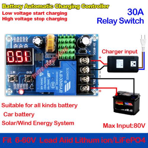 30A Digital 6-60V 24V 36V 48V Cargador De Batería módulo de Controlador de carga automática