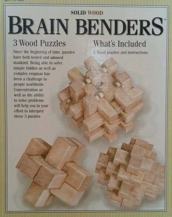 Brain Benders 3 Solid Wood Puzzles Ebay