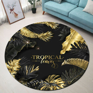 Round floor mat living room area rugs creative black and - Gold rug for living room ...