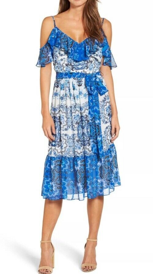 ELIZA J Size Plus 16W  bluee Dress Cold Shoulder Floral Ruffle Belt Tie  138 New
