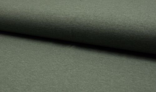 Quality Textiles uni 155cm khaki-meliert Baumwolle Jersey Stoff