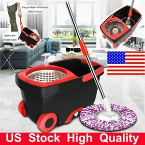 360°Spin Rotating Spin Mop Stainless Steel Bucket Microfiber 2 Mop Head Wheel US