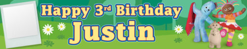 PHOTO PACK OF TWO PERSONALISED BIRTHDAY IN THE NIGHT GARDEN BANNERS