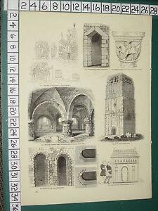 1845 Estampado ~ Torre De EARL'S Barton Iglesia Westminster Entrada Bosham