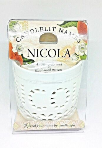 Personalised Candlelit Names Tea Light Holders Birthday Gift NICOLA
