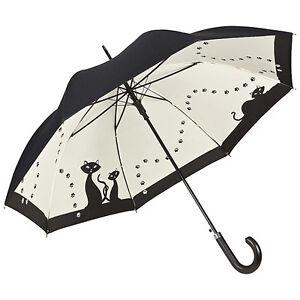 Regenschirm-Stockschirm-doppelt-bespannt-inverted-Damen-schwarze-Katzen