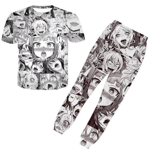 Womens Mens Ahegao Emoji Anime 3D Print Casual T-Shirt Jogger Pants Tracksuits**
