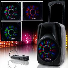 Tragbare DJ Anlage Karaoke Bluetooth USB SD Mikro MP3 PARTY-8LED Lautsprecher