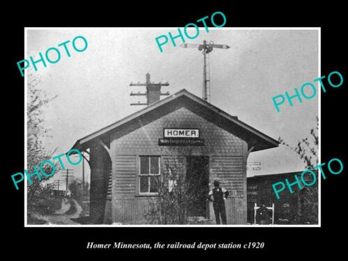 OLD 6 X 4 HISTORIC PHOTO OF HOMER MINNESOTA, THE RAILROAD DEPOT STATION c1920