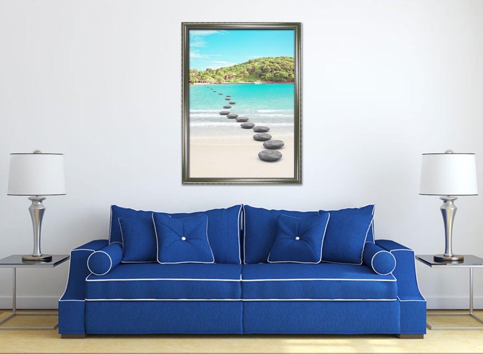 Ruta de playa Piedras 3D 3 Póster Enmarcado Decoración del Hogar Pintura de Impresión Arte AJ Wallpaper