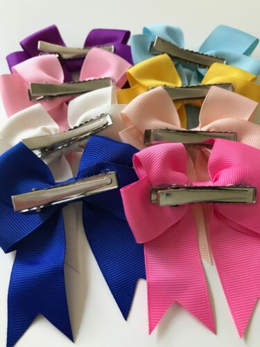 "Long Tail Colourful Hair Bows 3/"" With Clip Cheer bows 34 Colours"