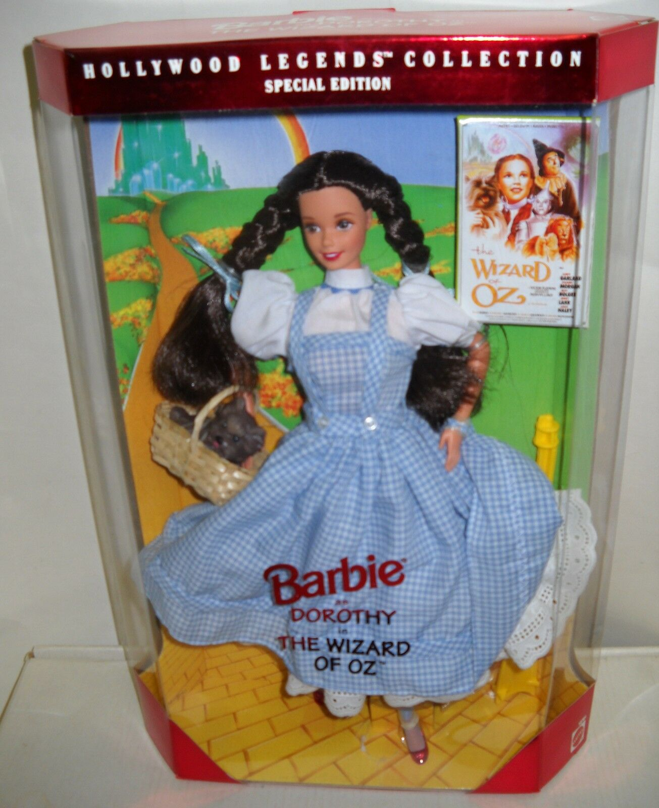 Nunca quitado de la Caja Mattel Hollywood Legends Barbie como Dorojohy de El Mago de Oz