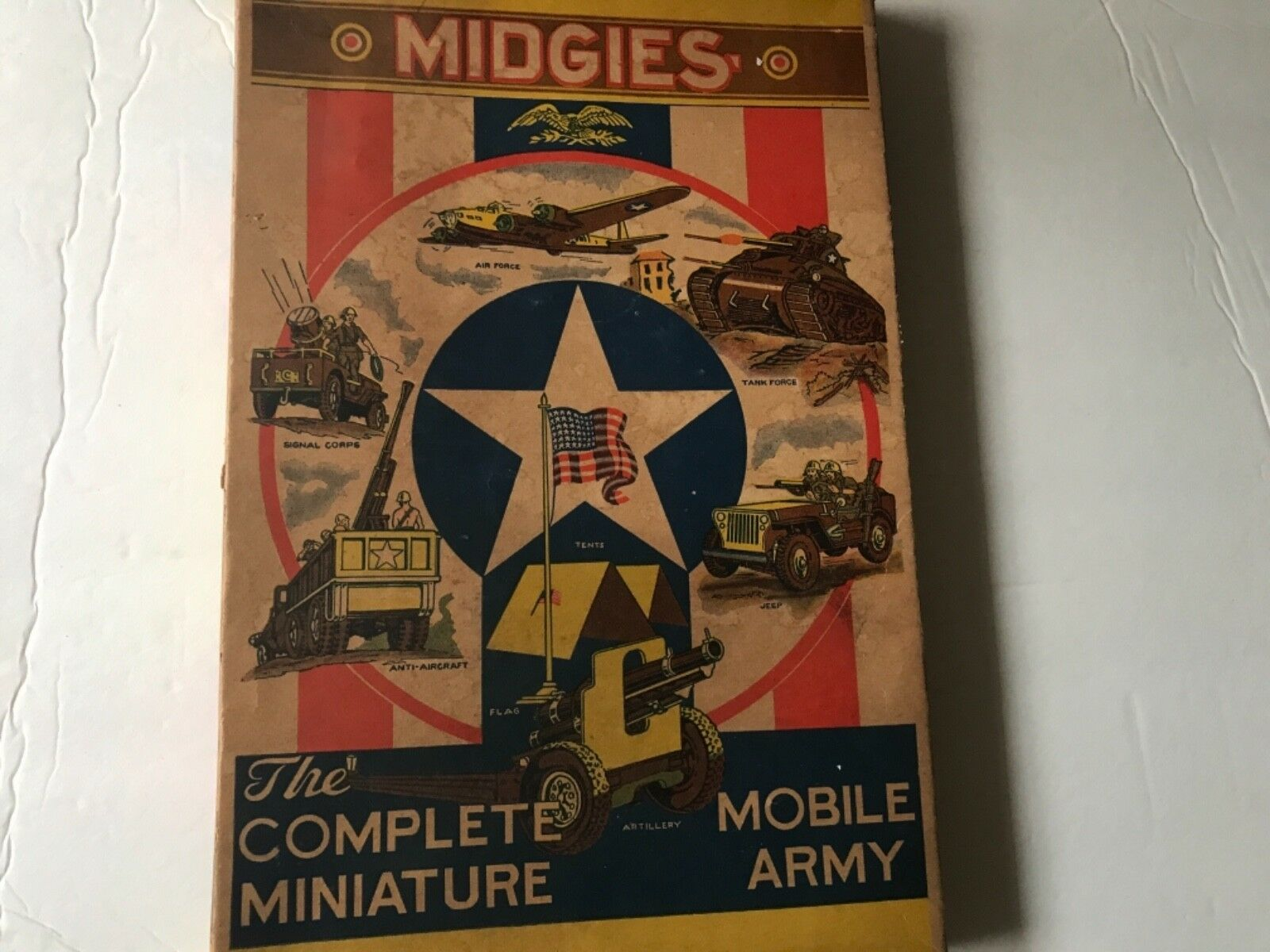 Jaymar 1940's Midgies Complete Miniature Miniature Miniature Mobile Army Rare larger Set In Box 528818