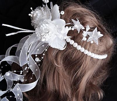 Kommunion ,Hochzeit Haarstecker Haarschmuck Haarkranz mit Blüten Bändern weiss