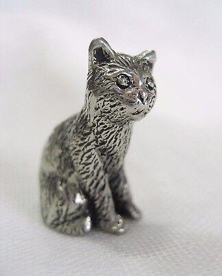 Vintage Pewter Cat Kitty Figurine Cute Animal Miniature Handmade Art Crafted