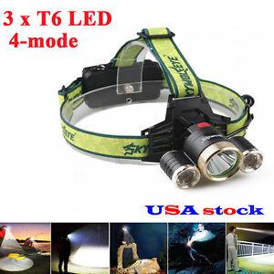 Headlamp-3x-T6-LED-Headlight-Flashlight-Lamp-18650-battery-Charger-USA-90000LM