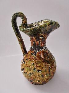 Ancien Pichet Multicolore Vintage-céramique De Vallauris émaillée-lave Pure Blancheur