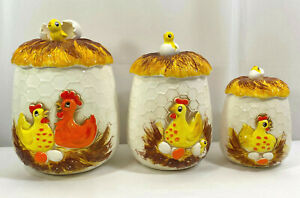 SEARS-Vintage-1976-Ceramic-Canister-Set-of-3-Chicken-Chick-amp-Egg-Made-in-Japan