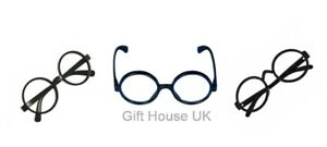 Harry Potter Black Round Glasses Hogwarts Wizard Geek Nerd Fancy Dress Costume