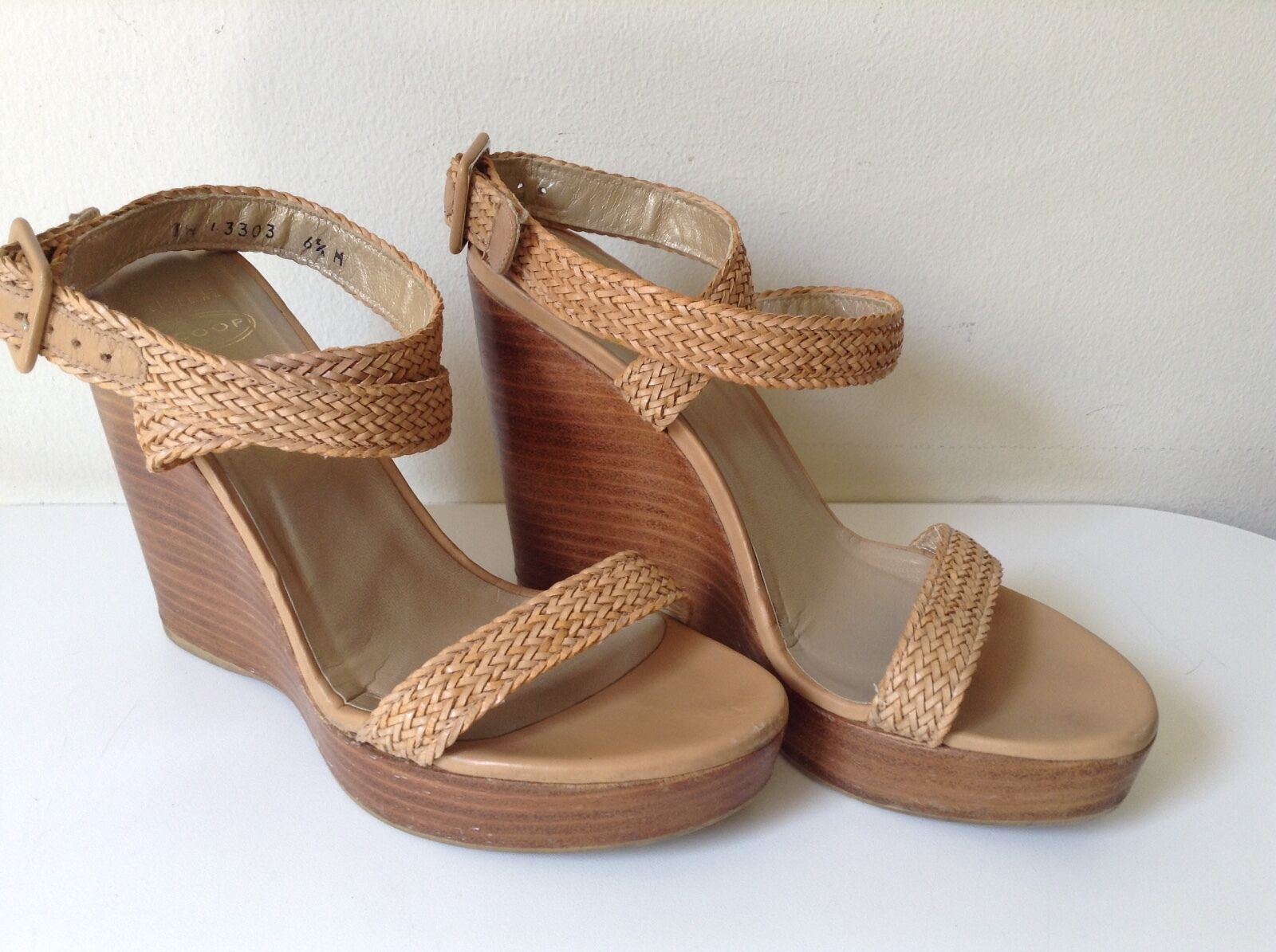 Stuart Weitzman  - Stacked Leather Wedge Strappy ankle wrap Sandals.