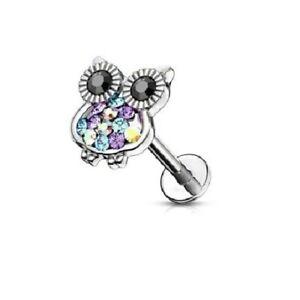 100% Vrai Nouveau Cartilage Tragus Chouette Cristal Boucles D'oreilles Hélice Oreille