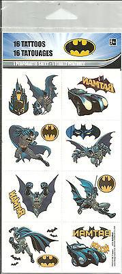 Batman Party Favor Tattoos 1 Sheet / 16 Tattoos