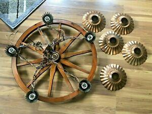 Vintage 5 lights 10 Spokes Wood Wagon Wheel Hanging Chandelier Ceiling Light